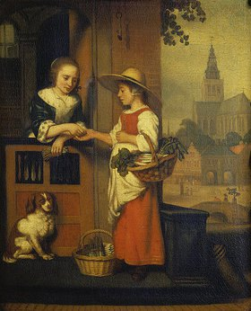 Nicolaes Maes: Die Gemüseverkäuferin. Ende 1650er Jahre