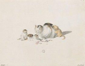 Gottfried Mind: Schlafende Katzenmutter mit drei Jungen