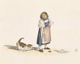 Gottfried Mind: Mädchen, mit Katze spielend