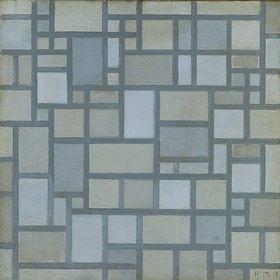 Piet Mondrian: Komposition in hellen Farben mit grauen Linien