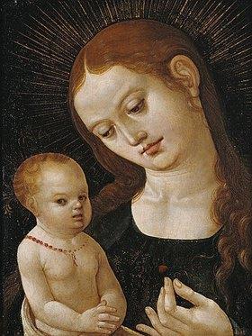 Oberdeutsch: Maria, dem Jesuskind eine Erdbeere reichend
