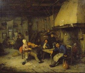 Adriaen van Ostade: Geigenspieler und trinkende Bauern in einer Schenke