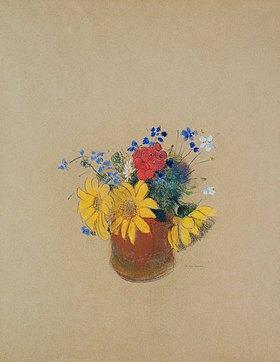 Odilon Redon: Blumenstillen aus Sonnenblumen und Geranien in einer braunen Vase