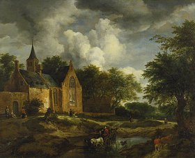 Jacob Isaacksz van Ruisdael: Landschaft mit alter Kirche