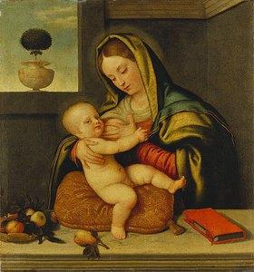 Schule von Bergamo: Die hl.Jungfrau, dem Jesuskind die Brust reichend