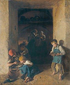 Ferdinand Georg Waldmüller: Kinder bekommen ihr Frühstück