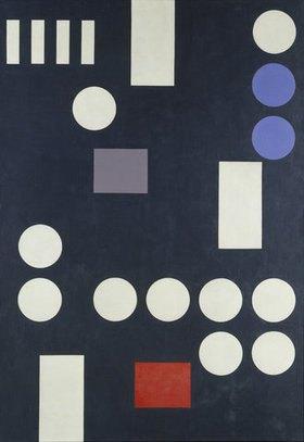 Sophie Taeuber-Arp: Komposition mit Rechtecken und Kreisen auf schwarzer Leinwand