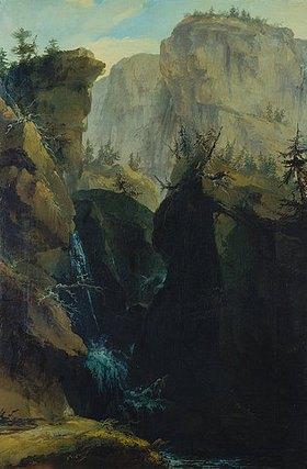 Kaspar Wolf: Felsenschlucht mit Passweg und Wasserfällen, von Bergen überragt