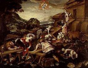 Kaspar Memberger: Bau der Arche Noah. 1588. Lwd., 128 x 166 cm