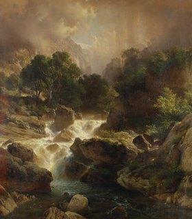 Johann Gottfried Steffan: Landschaft mit Wasserfall