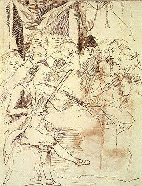 Salomon Gessner: W.A.Mozart musiziert in kleinem Kreis während seines Zürcher Aufenthaltes