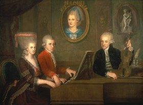 Johann Nepomuk della Croce: Die Familie Leopold Mozart beim Musizieren