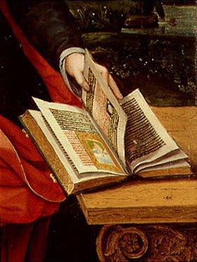 Meister der weibl. Halbfiguren: Madonna mit dem Kind. Detail: Buch und Hand der Madonna