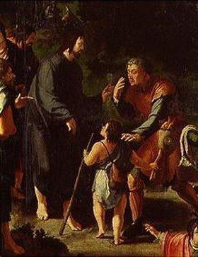 Lucas van Leyden: Die Heilung des Blinden von Jericho. Detail: Christus und der Blinde