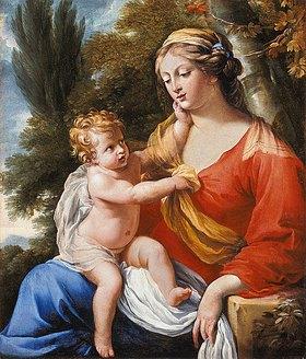Charles Poerson: Die Jungfrau mit dem Kind in einer Landschaft