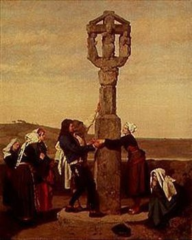 Gustave Brion: Die Verlobung (an einem Calvaire in der Normandie)