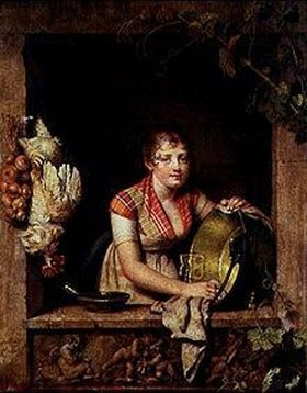 Martin Drölling: Küchenmädchen bei der Arbeit am Fenster