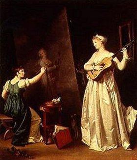 Marguerite Gérard: Malerin beim Portraitieren einer Lautenspielerin
