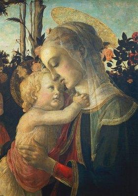 Sandro Botticelli: Madonna mit dem Jesuskind und Johannes. (Detail: Madonna)