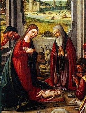 Meister von Játiva: Die Geburt Christi. (Detail: Maria und Joseph in Anbetung des Kindes)