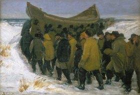 Michael Peter Ancher: Dänische Fischer bringen ihr Boot im Winter zu Wasser