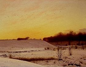 Adolf Larsen: Winterlandschaft am Abend