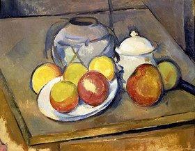 Paul Cézanne: Blumenvase, Äpfel und Zuckerdose
