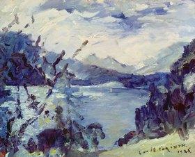 Lovis Corinth: Walchensee mit Bergkette und Uferhang