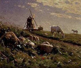 Peder Moensted: Grasende Pferde auf einer Sommerwiese