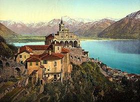 Anonym: Die Wallfahrtskirche Madonna del Sasso auf einem Hügel bei Locarno/Schweiz. 1480 (Aufnahme ca. 1890 - 1910)