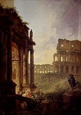 Hubert Robert: Ideale italienische Landschaft mit Ruinen