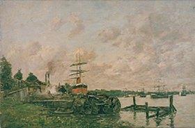 Eugène Boudin: Flusslandschaft mit Hafen- und Werftanlage