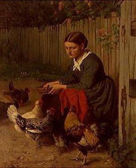 Hans Thoma: Hühnerfütterndes Mädchen