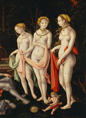 Matthias Gerung: Die drei Grazien (Detail aus dem Gemälde Die Zerstörung Trojas)