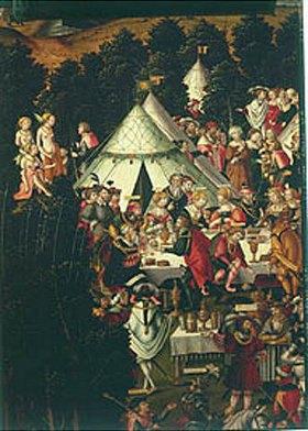 Matthias Gerung: Das Festmahl im Zeltlager. (Detail aus dem Gemälde Die Zerstörung Trojas)