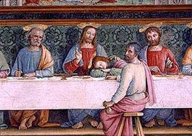 Perugino (Pietro Vanucci): Detail aus dem Fresco Das Hl. Abendmahl (Jesus mit den Aposteln Petrus, Joh