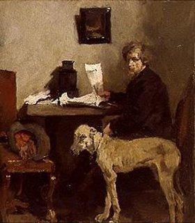 Wilhelm Leibl: Der Maler Sattler mit Dogge