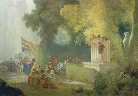 Jean Honoré Fragonard: Das Fest im Park von St.Cloud: Detail: Theaterspiel im Park. 1778-80 (Gesamtansicht: 12834)