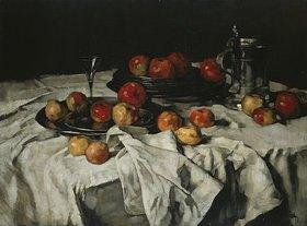 Carl Schuch: Stilleben mit Äpfeln, Weinglas und Zinnkrug