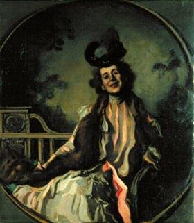 Hugo von Habermann: Dame in grünem Kostüm