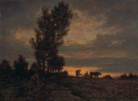 Theodore Rousseau: Abendstimmung mit pflügendem Bauern