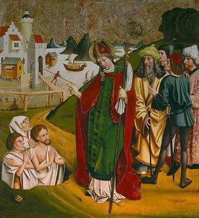 Meister von Okolicsnó: Der hl. Nikolaus erweckt drei Tote zum Leben