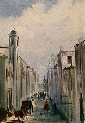 Johann Moritz Rugendas: Straßenszene in Mexico. Anfang 1830-er Jahre