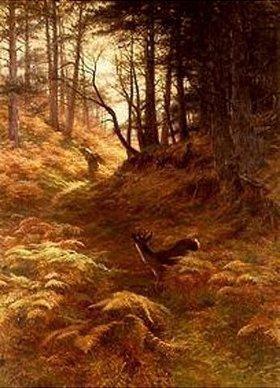 Joseph Farquharson: Waldlandschaft mit Reisigsammler und Rehbock