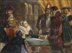 Charles Lucy: Die erzwungene Abdankung der Königin Maria von Schottland im Schloss Lochleven, 25. Juli