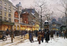 Eugene Galien-Laloue: Wintermorgen vor Moulin-Rouge in Paris