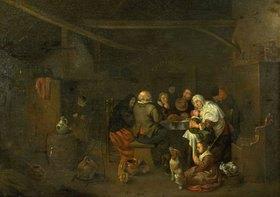 Jan Miense Molenaer: Bauernfamilie beim Mittagessen in der Küche