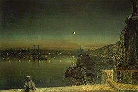 John Atkinson Grimshaw: Blick auf den abendlichen Hafen von Rouen von der Brücke St.Pierre