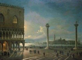 Giovanni Grubacs: Abendstimmung auf der Piazzetta mit Blick auf San Giorgio Maggiore