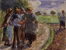 Camille Pissarro: Kleiner Schwatz auf dem Weg zur Feldarbeit